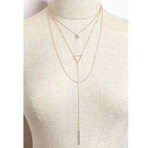 Gold Triangle Long Necklace with Earrings
